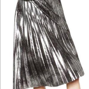 Zara metallic accordion silver midi skirt S